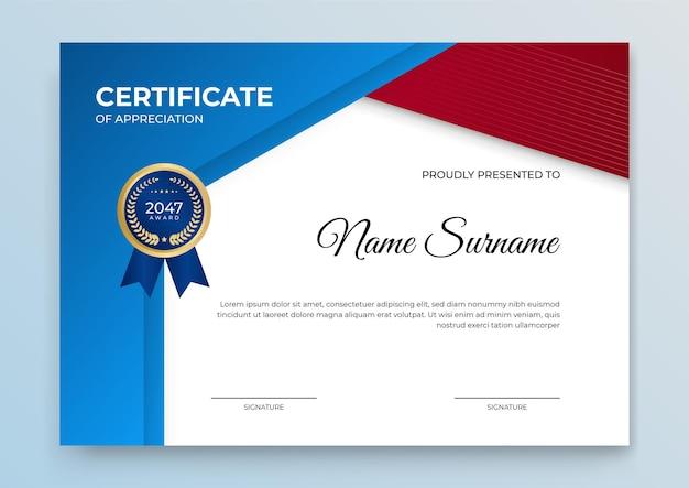 Modèle de certificat bleu et or. cours en ligne moderne, diplôme, conception de certificat de formation en entreprise