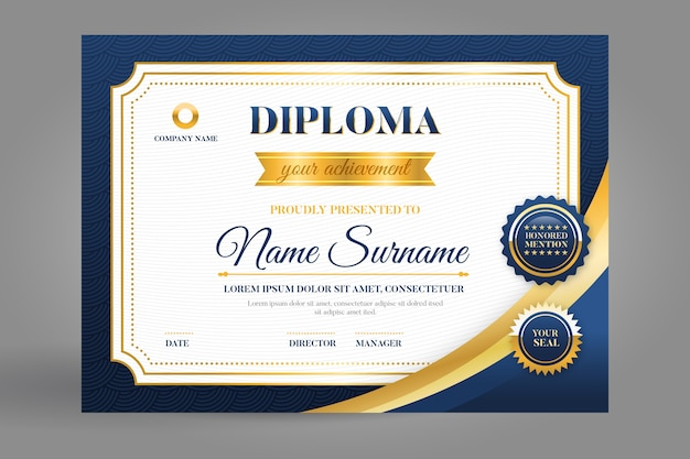 Modèle de certificat en bleu et or