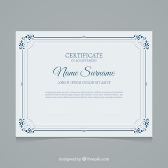 Modèle de certificat bleu