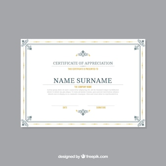 Modèle de certificat avec bordure ornementale