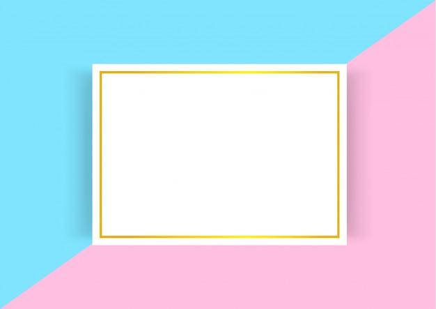 Modèle de certificat avec cadre doré sur des couleurs pastel rose bleu