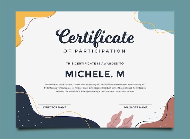 Modèle de certificat coloré peint abstrait