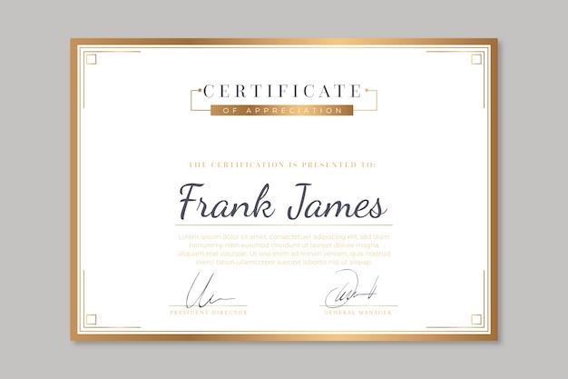 Modèle de certificat avec un concept élégant