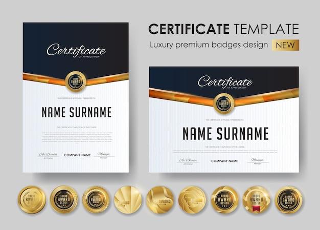 Modèle de certificat avec conception de badges de luxe et premium