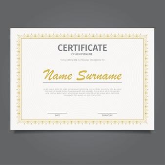 Modèle de certificat de conception classique or