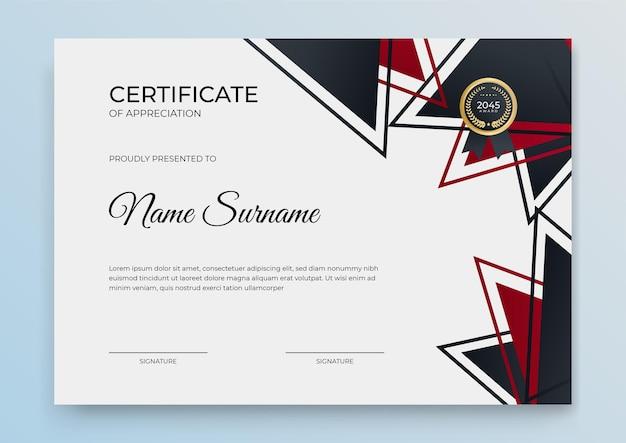 Modèle de certificat avec une couleur dégradée dynamique et futuriste et un arrière-plan moderne