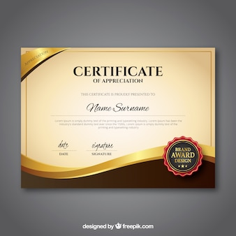 Modèle de certificat avec couleur dorée