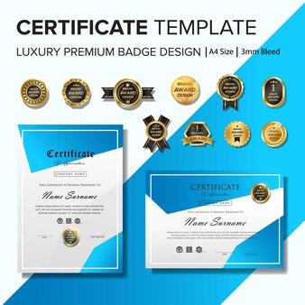 Modèle de certificat créatif avec des formes géométriques bleues