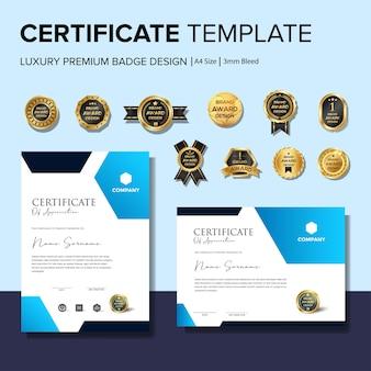Modèle de certificat créatif avec modèle de badge