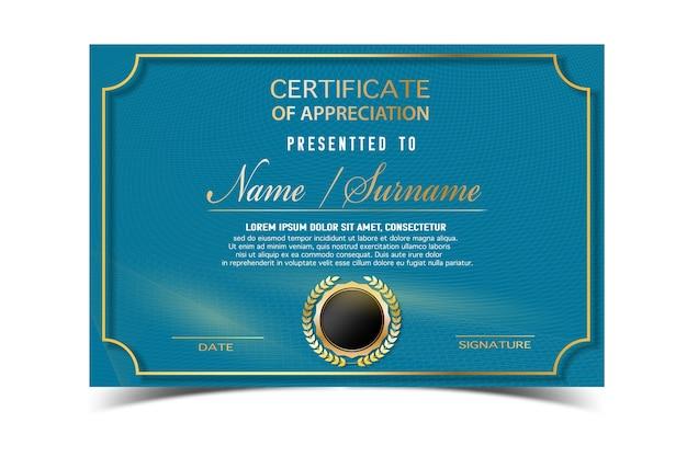 Modèle de certificat créatif pour le prix d'achèvement avec des formes d'or et badge.clean et moderne pour le diplôme, les récompenses officielles ou différentes.vector illustration