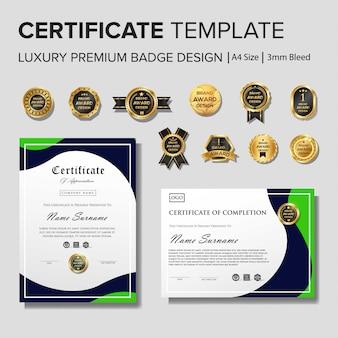 Modèle de certificat de création avec luxe et modernité, diplôme,