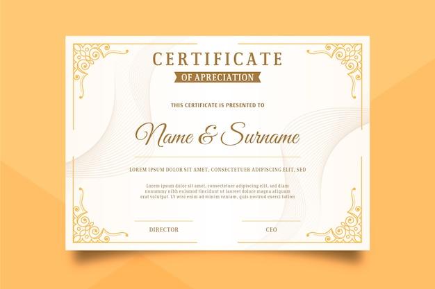 Modèle de certificat dans un style élégant