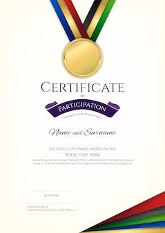 Modèle de certificat dans le thème du sport avec cadre de bordure