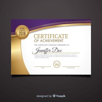 Modèle de certificat décoratif avec des éléments dorés
