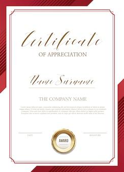 Modèle de certificat avec des décorations en or