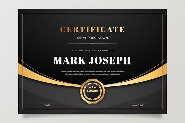 Modèle de certificat de dégradé