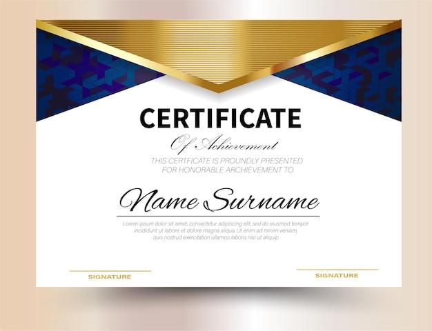 Modèle de certificat design a4 format