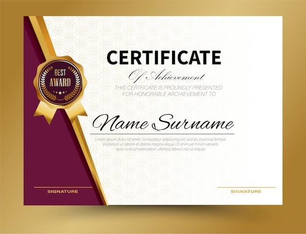 Modèle de certificat design a4 size