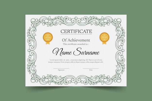 Modèle de certificat dessiné à la main de gravure