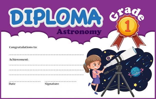 Modèle de certificat de diplôme en astronomie