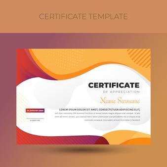 Modèle de certificat de diplôme coloré coloré