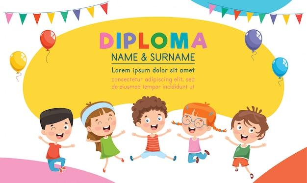 Modèle de certificat de diplôme conçu pour l'éducation des enfants