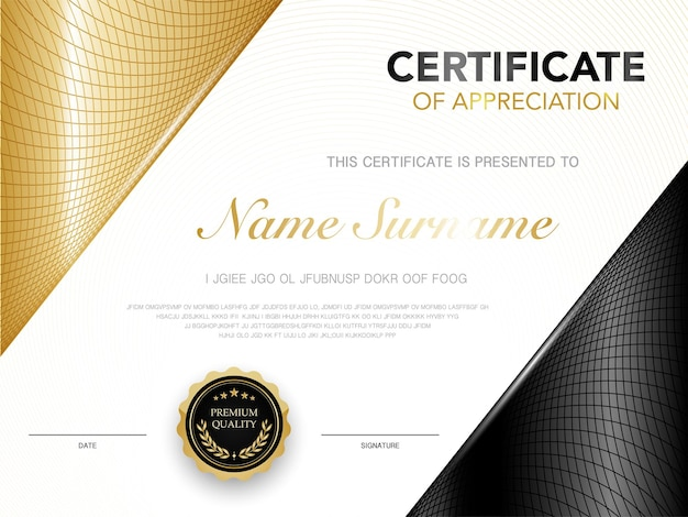Modèle de certificat de diplôme couleur noir et or avec image vectorielle de luxe et de style moderne