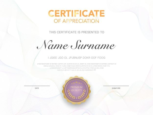 Modèle de certificat de diplôme couleur rouge et or avec image vectorielle de luxe et de style moderne adaptée