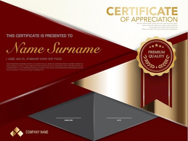 Modèle de certificat de diplôme couleur rouge et or avec image vectorielle de luxe et de style moderne
