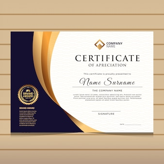 Modèle de certificat de diplôme élégant bleu et or.