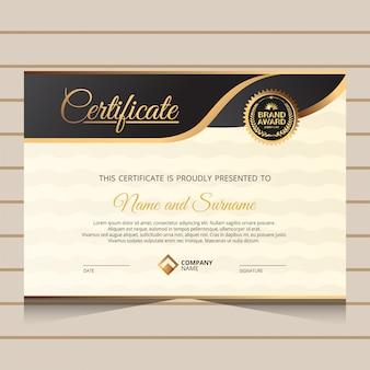 Modèle de certificat de diplôme élégant noir et or