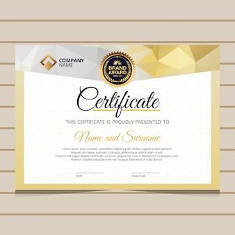Modèle de certificat de diplôme élégant en or bleu