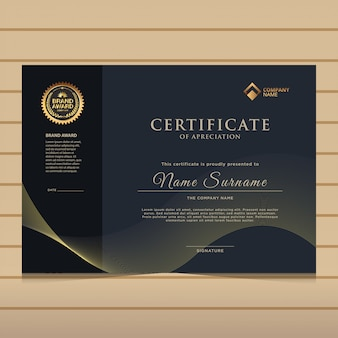 Modèle de certificat de diplôme élégant en or foncé.