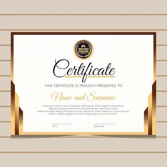 Modèle de certificat de diplôme élégant et or