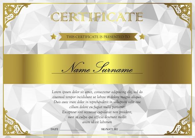 Modèle de certificat et de diplôme horizontal en argent et or blanc