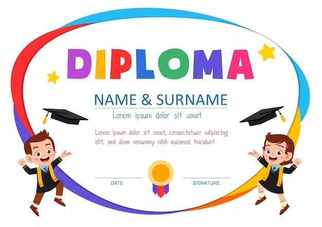Modèle de certificat de diplôme mignon pour étudiant