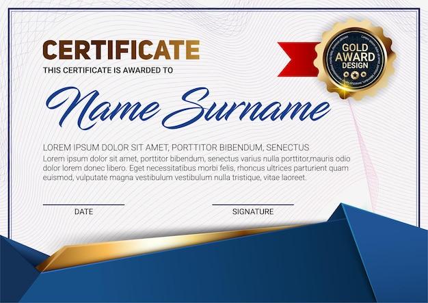 Modèle de certificat ou de diplôme avec motif de ligne de luxe et emblème de récompense en or