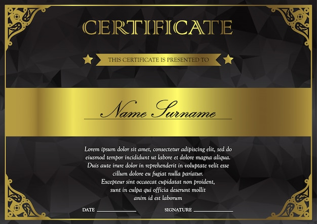 Modèle de certificat et de diplôme noir, noir et or