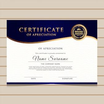 Modèle de certificat de diplôme d'or bleu élégant