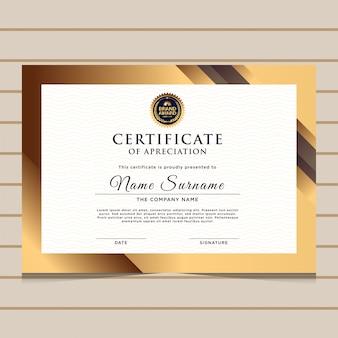 Modèle de certificat de diplôme d'or élégant