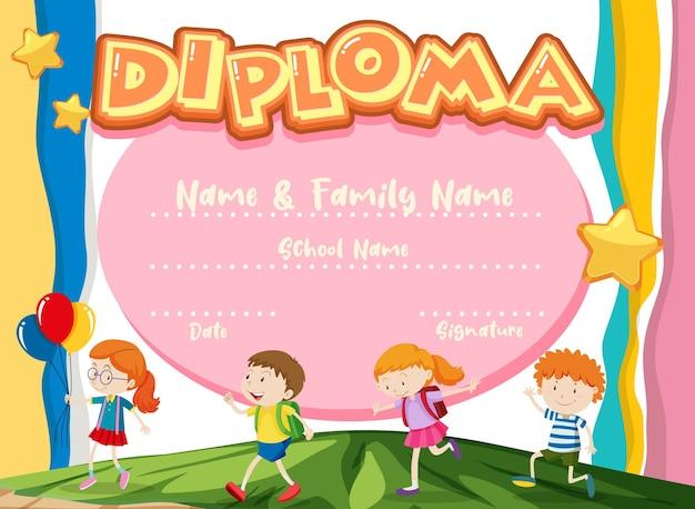 Modèle de certificat de diplôme pour enfants