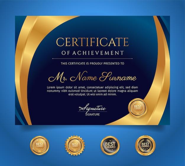 Modèle de certificat de diplôme premium couleur or et bleu avec badges