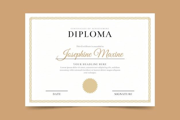 Modèle de certificat de diplôme