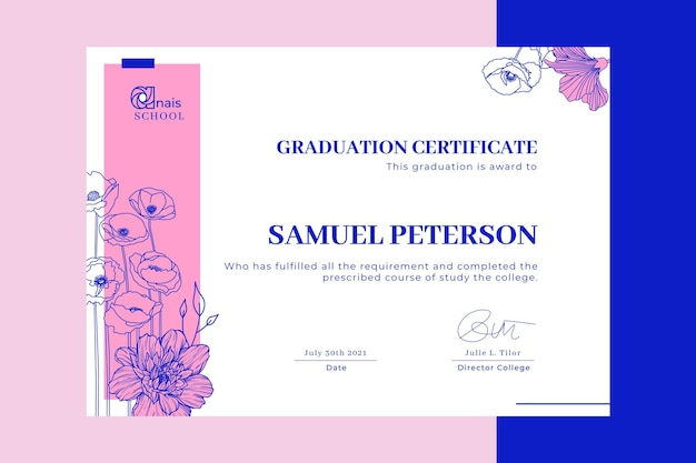 Modèle de certificat d'éducation en bichromie florale