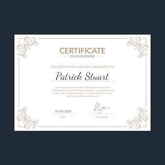 Modèle de certificat élégant avec de beaux ornements
