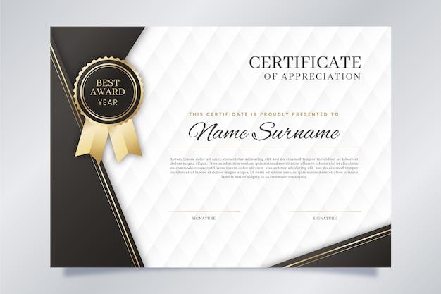 Modèle de certificat élégant bleu et blanc