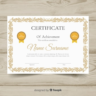 Modèle de certificat élégant avec cadre décoratif