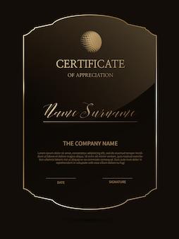 Modèle de certificat élégant avec cadre en verre