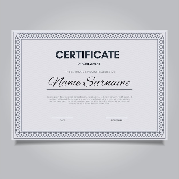 Modèle de certificat élégant avec des cadres d'ornement vintage