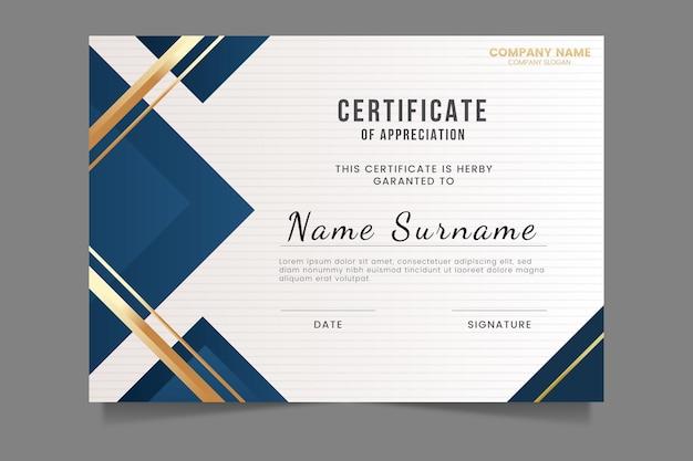 Modèle de certificat élégant dégradé